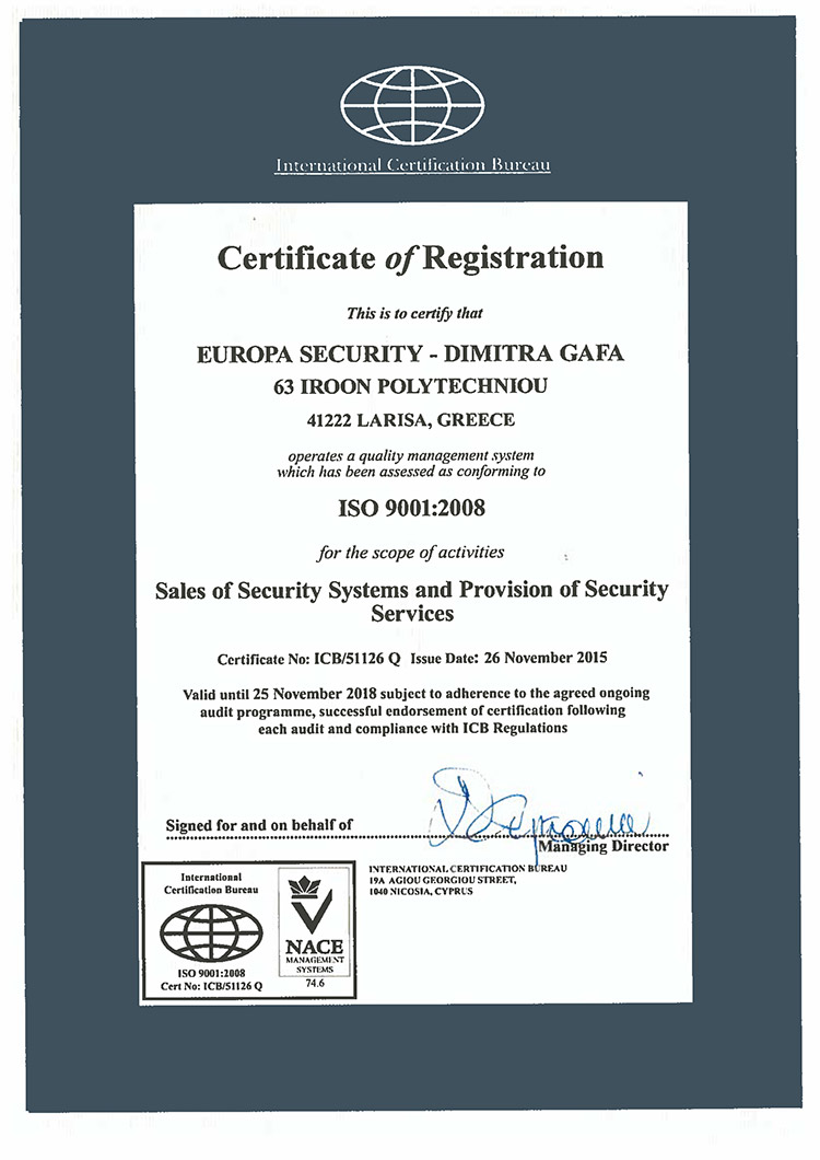 ISO 9001:2008 - Europa Security - Dimitra Gafa